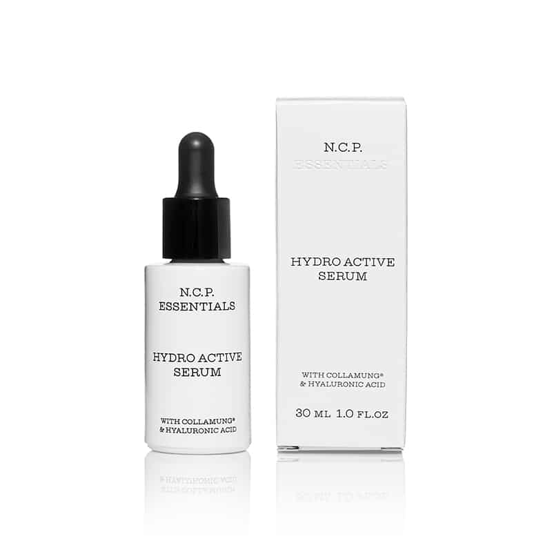 Vegan skin care from N.C.P Essentials, a white bottle with black text and black pipette and a protecting packininge box.Hydro Active Serum.