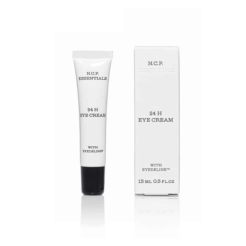 Vegan skin care from N.C.P Essentials, a white tube with black text and black cap and a protecting packininge box. 24 H Eye Cream.