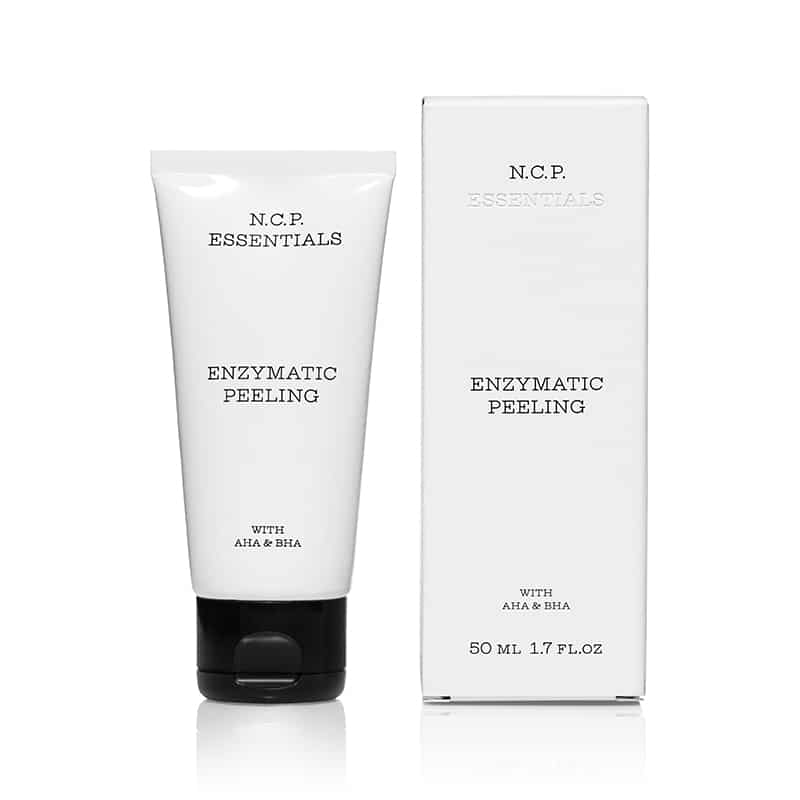 Vegan skin care from N.C.P Essentials, a white tube with black text and black cap and a protecting packininge box. Enzymatic Peeling.
