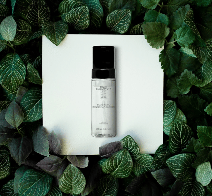 Vegan & fragrance free skincare from N.C.P. A transparent bottle with a black cap. Green leafs around the bottle, Soothing Cleansing Mousse