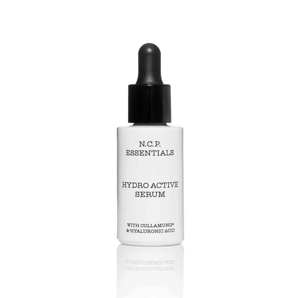 Vegan skin care from N.C.P Essentials, a white bottle with black text and black pipette. Hydro Activeerum.