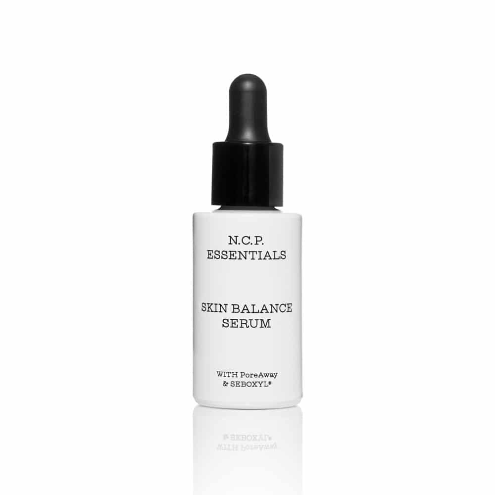 Vegan skin care from N.C.P Essentials, a white bottle with black text and black pipette. Skin Balance Serum.
