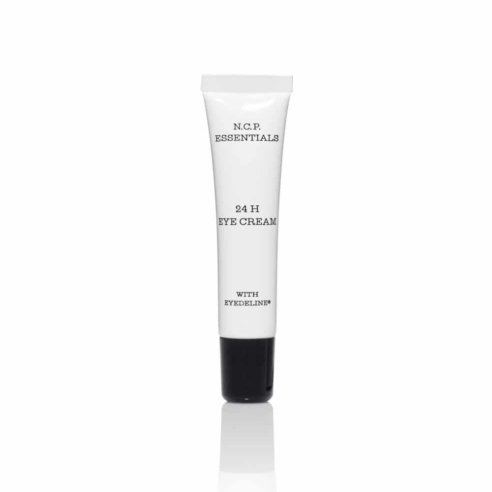 Vegan skin care from N.C.P Essentials, a white tube with black text and black cap. 24 H Eye Cream.